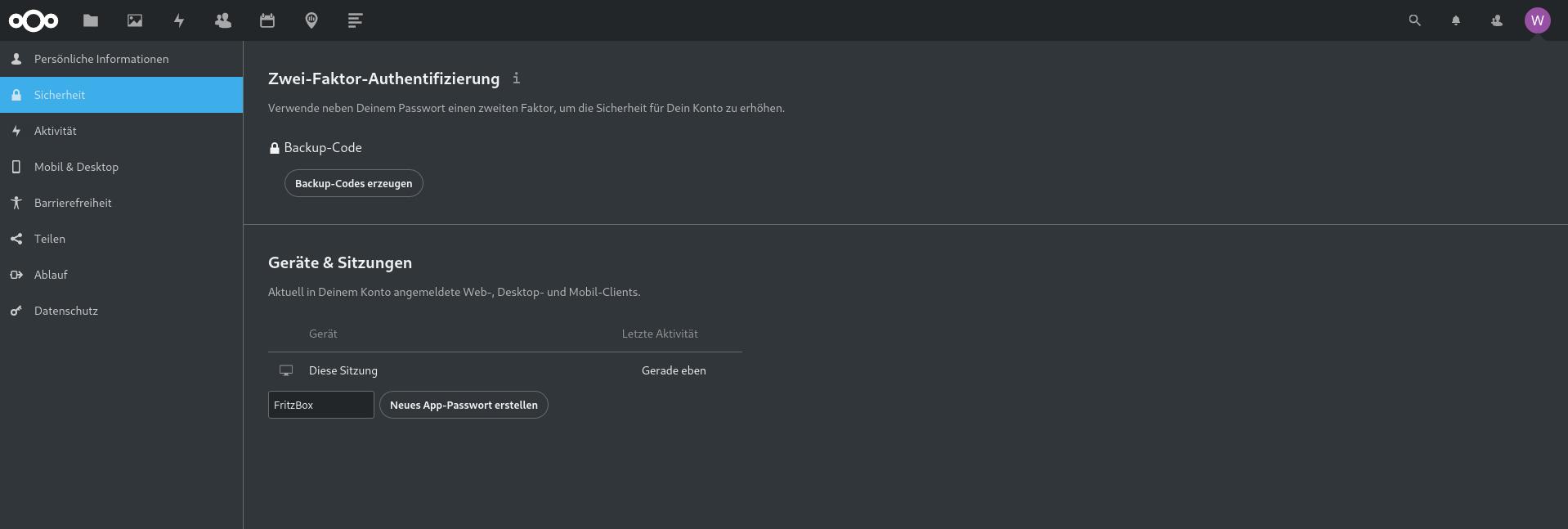 App Passwort unter Nextcloud anlegen