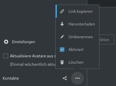 Nextcloud: CardDAV Adresse kopieren